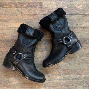 Proenza Schouler Shearling Leather Moto Boots 37.5
